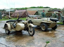 German WW2 Vehicles - Motorcycle/sidecar combo & VW-166 Schwimmwagen
